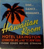 Matchbook cover from the Hawaiian Room